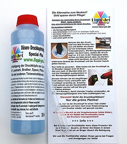 Liqui-Jet Düsenreiniger Druckkopfreiniger 250ml Special Plus für alle Tintenstrahldrucker von HP, Canon, Epson, Brother, Lexmark, Dell, Oki, Olivetti, Philips, Sharp, u.a. z.B. Pixma ip, MP, MX, MG, TS, MG5150, MG5250, MG5550, MG5350, MG5450, MG6150, MG6250, MG6350, MG6450, MG7150, IP7250, MG8150.