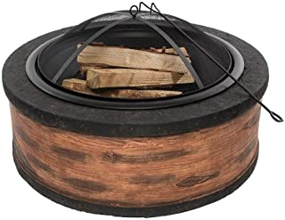 Rustic Brown Wood Burning Fire Pit 35