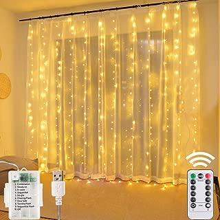 Cortina Luces LED 3x3m 304 LED, USB o PILAS, Cadena de Luces Blanco cálido, 8 Modos Luz, Impermeable Interior y Exterior, Luz de Hadas Intensidad Regulable, Decoración de Fiestas, Navidad, Balcón