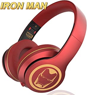 Marvel Iron Man Bluetooth Headphones V5.0, HD Stereo Headsets, Cartoon Over Ear Wireless Headphones with Microphone for Adults, Kilts, Kids, Children, Compatible for PC, Phone, Laptop, Mp3/4, Tablet