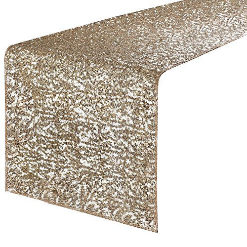 PONY DANCE Sequins Table Runner - Rectangle Glitzy Sparkling Decorative Table Runners, Event Dinner Birthday Party/Wedding / Christmas Decor,14 by 108 inch, Light Gold
