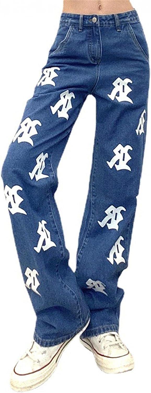 Dunacifa High Waisted Jeans for Women Y2k Vintage Print Straight Leg Boyfriends Jeans Loose Fit Denim Pants Streetwears