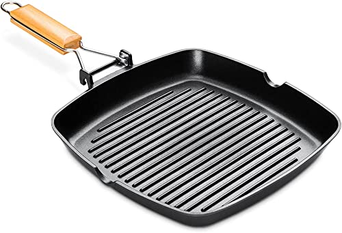 2021 Grill Pan for outlet sale Stove Tops Nonstick Square Griddle Pan discount Folding Handle Skillet Induction Steak Bacon Pan with Pour Spouts, 11 inch online