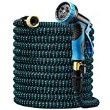 Delxo Expandable Garden Hose,100FT Water Hose with 9-Function High-Pressure Spray Nozzle, Heavy Duty Flexible Hose, 3/4' Solid Brass Fittings Leakproof Design