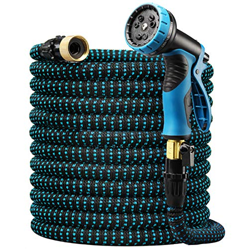 """Delxo Expandable Garden Hose,100FT Water Hose with 9-Function High-Pressure Spray Nozzle, Heavy Duty Flexible Hose, 3/4"""" Solid Brass Fittings Leakproof Design"""