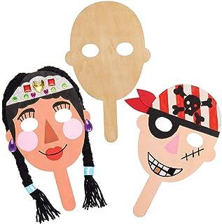 Baker Ross AT804 Masques en bois -Loisirs créatifs pour enfants (Paquet de 5)