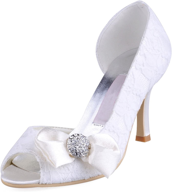 Minitoo Womens MZ570 Peep Toe High Heel Bowknot Lace Bridal Wedding shoes Sandals