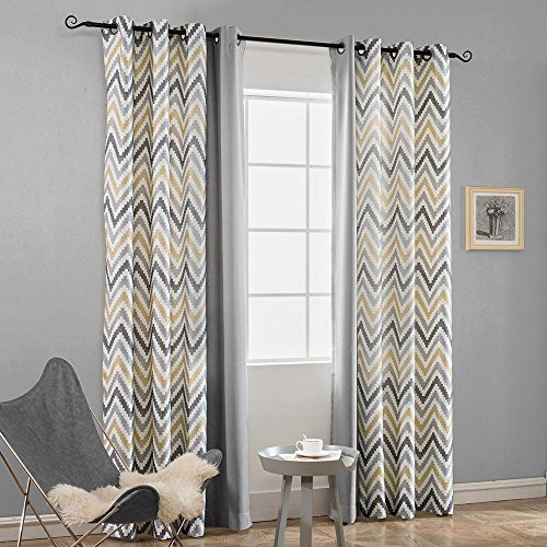Melodieux Chevron Grommet Top Window Curtains for Living Room, 52 by 84 Inch, Yellow/Grey, Set of 2 Panels