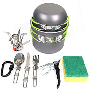 Goetland 16 Pcs Camping Cookware Set Mess Kit Backpacking Cookset Outdoor Hiking Picnic Non-Stick Cooking Anodized Aluminum Pot Pans Folding Utensils