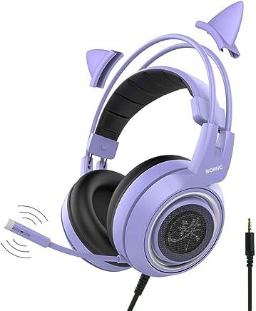 SOMIC G951 Viola Cuffie da Gioco con Microfono, Cuffie rimovibili Cat Over Ear per Ragazze/donne, Completo per Xbox one, Switch, PS4, iPhone, iPad - Jack da 3,5 mm - Trova i prezzi più bassi