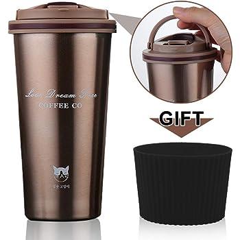FAGORY Termo de Café Portátil Termo Taza Frasco de Vacío de Acero Inoxidable, Taza de Viaje Sin BPA, Antigoteo, Térmica de Doble Pared, Aislado al Vacío Taza de té Reutilizable 500ML: Amazon.es: