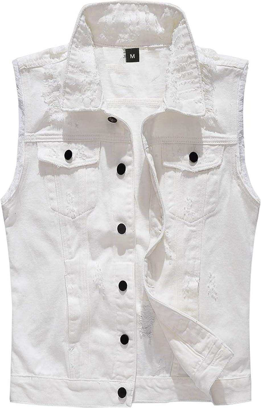 Uaneo Men's Casual Slim Broken Holes Button-Down Denim Vest Trucker Jean Jacket(White-L)