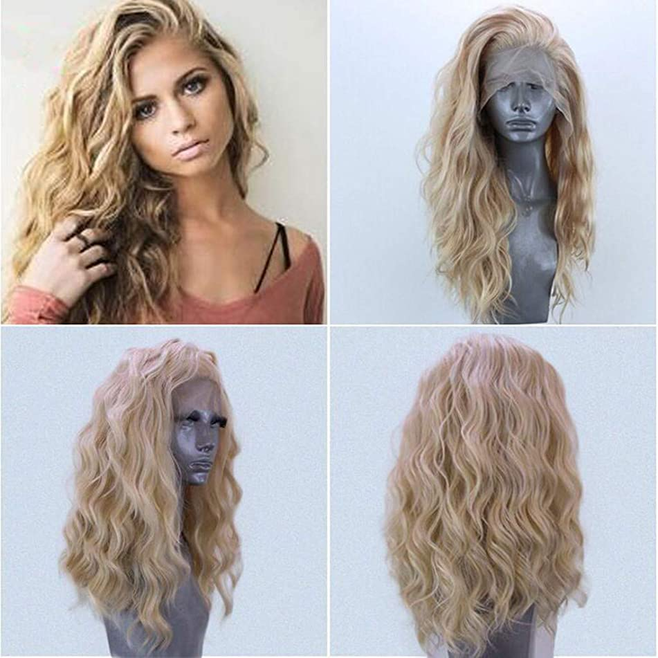 Gold Women's Long Curly Lace Front Light Wig Density Half Hand Tied Heat Resistant Lace Front Wig (a)