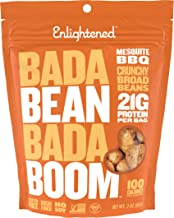 Enlightened Bada Bean Bada Boom Plant-based Protein, Gluten Free, Vegan, Non-GMO, Soy Free, Roasted Broad Fava Bean Snacks, Mesquite BBQ, 3 Ounce (6 Count)