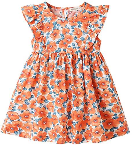 ZRFNFMA Vestido floral para niñas de verano estilo pastoral de princesa para niños grandes falda de algodón rojo vestido rojo-120cm