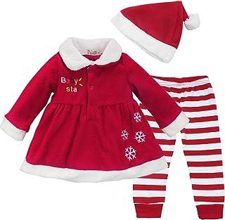 Conjunto Disfraces Navidad Invierno Vestido + Pantalones Rayas + Gorro para Bebé Niña Fiesta Reyes