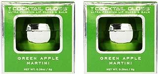 Cocktail Gloss Duo Set - Ultra Premium Moisturizing Lip Gloss Mirror Ball Keychains (Two Green Apple Martini) Non-Alcoholic, Paraben Free, Petroleum Free (2x .28oz, Clear)