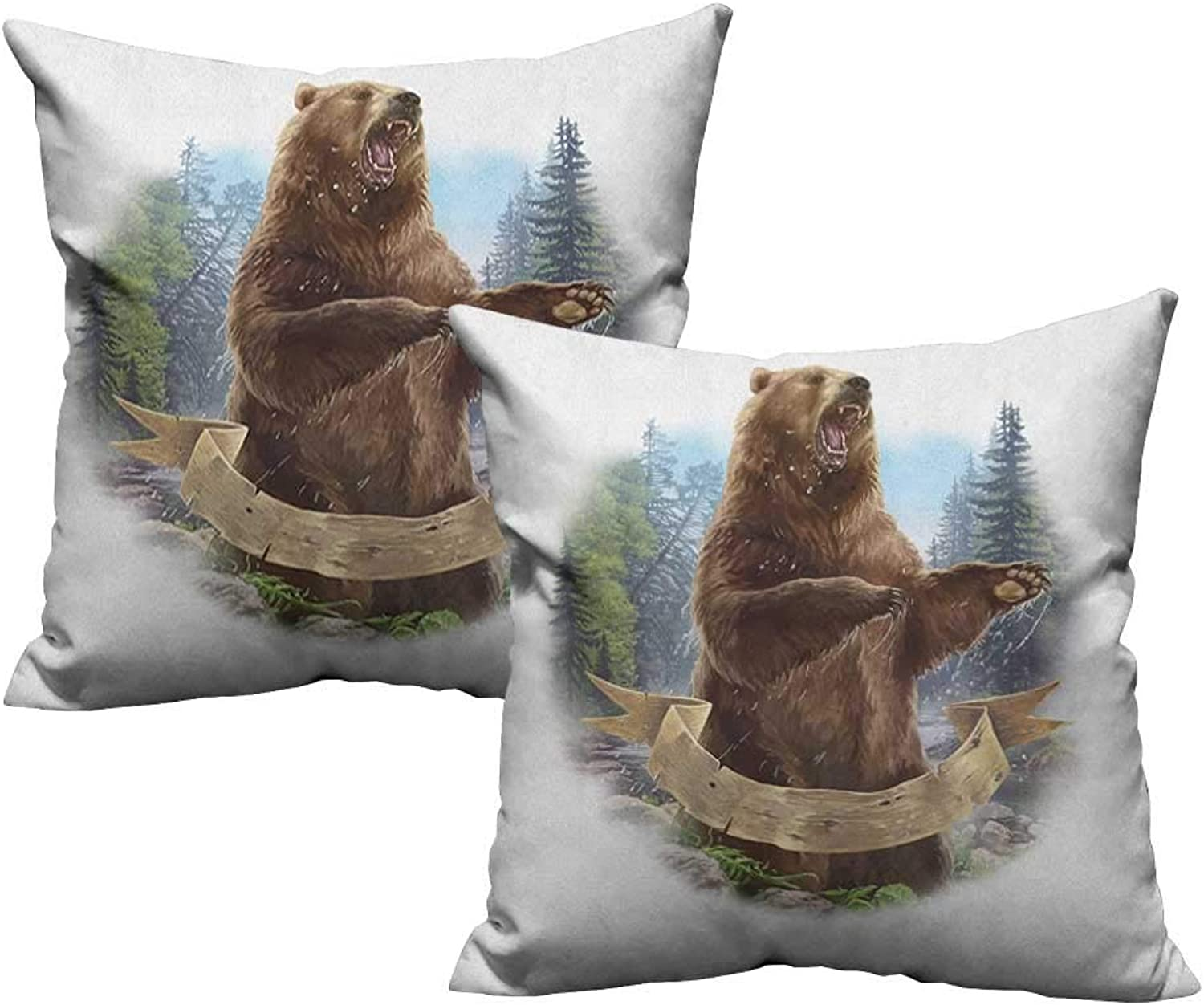 RuppertTextile Polyester Pillowcase Bear Angry Mammal Carnivore Attacking Wilderness Forest Realistic Illustration Without core W20 xL20 2 pcs