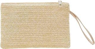 Demiawaking Damen-Handtasche aus Stroh, geflochten, Geldbörse, Handgelenktasche, Clutch, elegant, für den Sommer