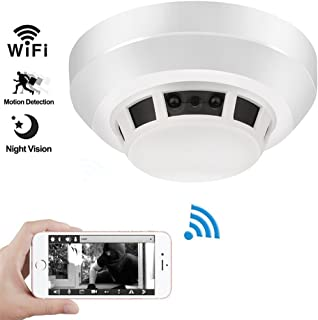 Night Vision Smoke Detector Camera, QUANDU WiFi Hidden Spy Camera DVR Mini Nanny Cam with Motion Detection for Home Security Surveillance Apps for iOS/Android/PC/Mac