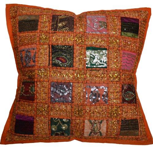 17 Recycled Sari Cushion Cover 43cm Indian Moroccan Orange by Designs Emporium