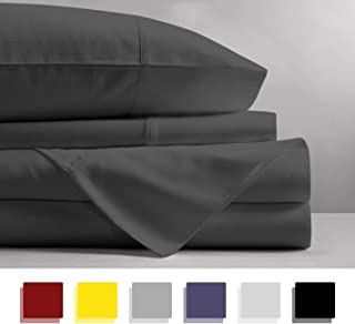 600 Thread Count 4-Piece 100% Cotton Sheets - Dark Grey Long-staple Cotton Full Sheets, Fits Mattress Upto 15'' Deep Pocket, Sateen, Soft Cotton Bed Sheets and Pillowcases Solid