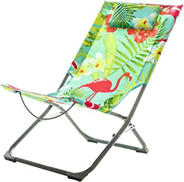 MEIDUO Rocking Lounger Outdoor Folding Chair Leisure Recliner Chair Portable Beach Sun Loungers Fishing Chair Lightweight Camping Chair with Padded Headrest (Color : B)