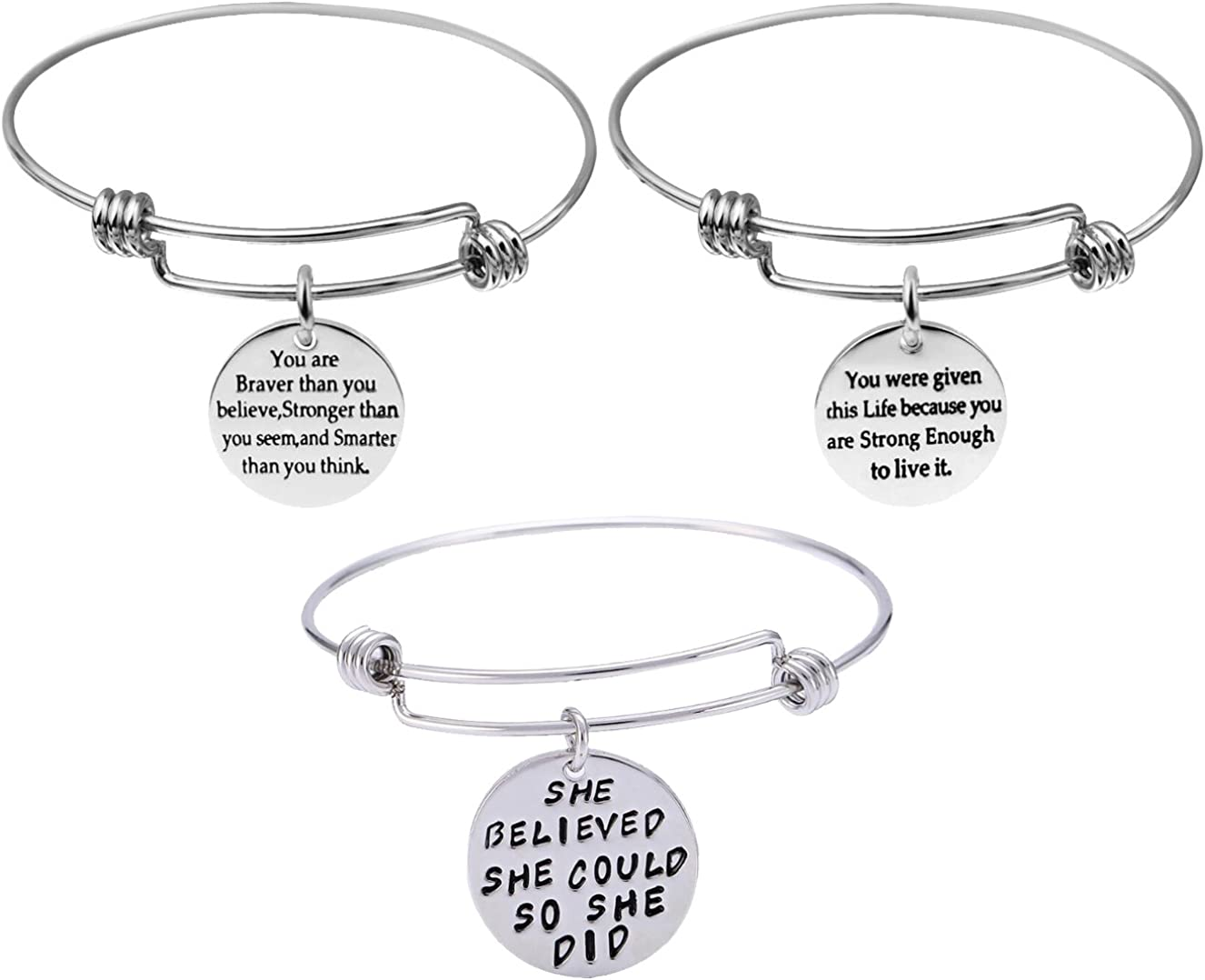 3-Pack Inspirational Bangles Bracelets Gifts Set for Women Girls Stainless Steel Motivational Engraved Message Words Bracelets Adjustable