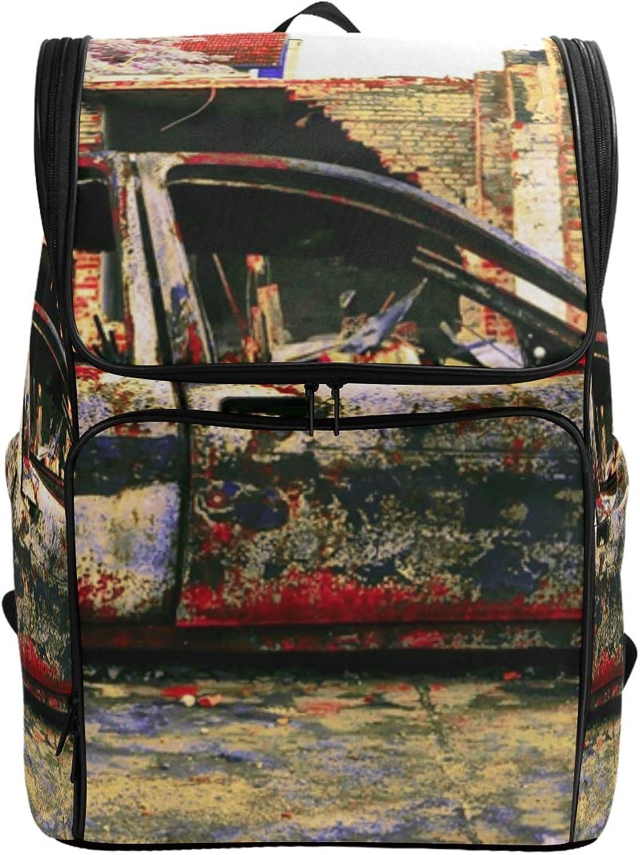 FANTAZIO Car Art Junkyard Laptop Outdoor Backpack Travel Hiking Camping Rucksack Pack, Casual Large College School Daypack
