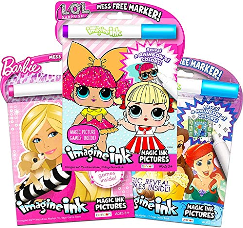 Girls Coloring Book Imagine Ink for Girls Super Set ~ Bundle Includes 3 No Mess Magic Ink Activity Books Featuring Disney Princess, LOL Dolls, and Barbie