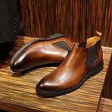 ZRH Zapatos Hombre Invierno Botas De Chelsea for Hombres Botas De Tobillo Tirar En Cuero Genuino Toe Redondo Talón Plano Lado Elástico Patente Cuero Fácil Cuidado Botas Hombre Impermeables