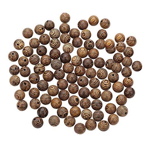 100 Pezzi di Perline di Legno Allentate, Perline di Legno Perline Artigianali Rotonde Perline, per la Creazione di Gioielli Braccialetto Fai da te Collana Artigianato, 8 mm