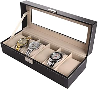 Watch Box 6 Slots, Watch Display Organizer Box Elegant Storage for Up To Watches Jewelry Collection Case