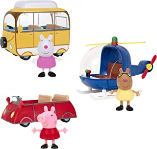 Peppa Pig Little Vehicles, 6 piece Set - Includes Figures of Peppa, Suzy Sheep & Pedro Pony with Red Car, Campervan & Heli...