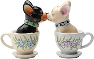 Ceramic Kissing Tea Cup Chihuahua Puppies Salt And Pepper Shaker Set