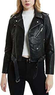 Howely Womens Classic Faux Leather Short Jackets Motorcycle Outwear Coat