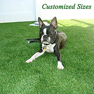 GL Premium 35mm Pile Height Artificial Grass, Realistic and Thick Fake Faux Grass Mat, Outdoor Garden Dog Pet Synthetic Grass, Carpet Doormat Rubber Backed with Drainage Holes 6 FT x10 FT/60 Square FT