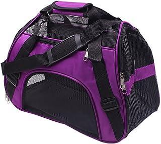 Pet Dog Soft Sided Foldable Breathable Handbag S-L(Purple)
