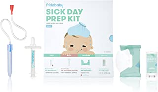 Baby Sick Day Prep Kit by FridaBaby - Includes NoseFrida Nasal Aspirator, MediFrida Pacifier Medicine Dispenser, Breathefrida Vapor Chest Rub + Snot Wipes. Soothe Stuffy Noses for Babies with A Cold