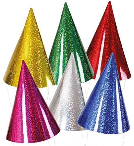 KarnevalsTeufel Partyhut bunt gemischt Partyaccessoire Silvesterhüte Partyhütchen Spitzhut