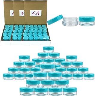 (200 Pieces Jars + Lid) Beauticom 3G/3ML Round Clear Jars with TEAL Sky Blue Screw Cap Lids for Scrubs, Oils, Toner, Salve...