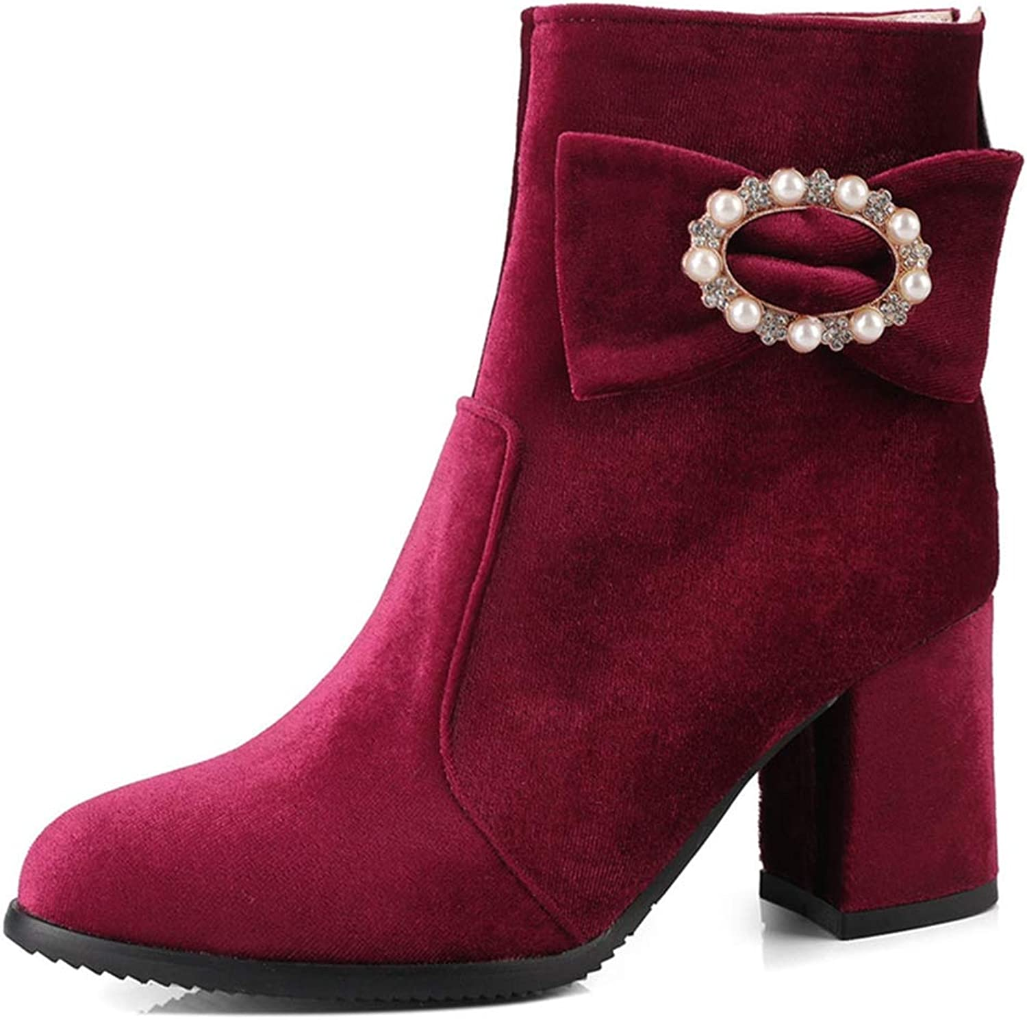 GIY Women's Retro Dressy Chunky Heel Ankle Boots Round Toe Velvet Lined Zipper Bootie Studded Short Boots