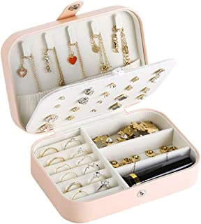 Jewelry Box for Girls Women Travel PU Leather Various Compartments Jewelry Organiser Storage Case for Rings Earrings Necklace Bracelets Zhhlaixing
