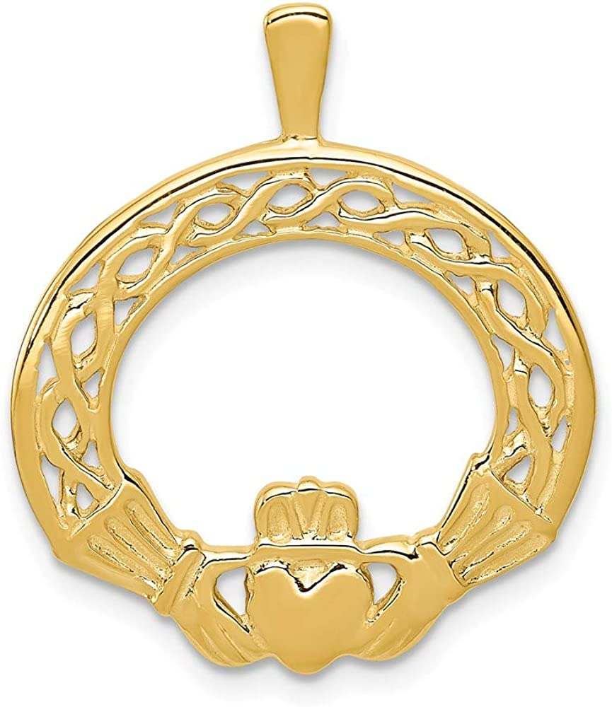 14k Yellow Gold Irish Claddagh Celtic Knot Pendant Charm Necklace Good Luck Italian Horn Fine Jewelry For Women Gifts For Her
