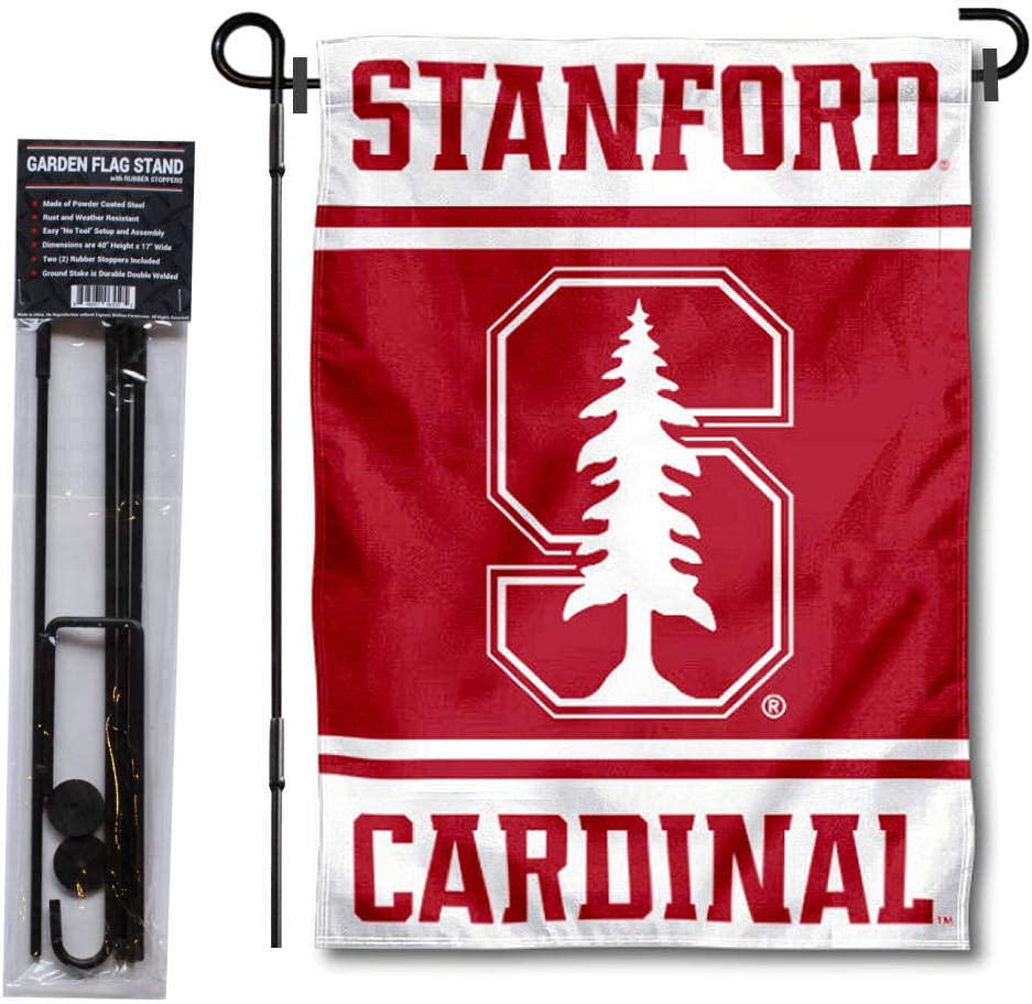 College Flags & Banners Co. Stanford Cardinal Garden Flag and Flag Stand Pole Holder Set