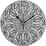 LKLFC Reloj de Pared Grande Reloj de Cocina Reloj de Pared Reloj de Pared Batería silenciosa Sin tictac Mandala Gris Patrón sin Costuras Bohemio Acrílico Redondo Relojes silenciosos con Pilas