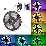Sunnest Ruban LED 3528 RGB Etanche 5M Strip Light Multicolore 300 LED Télécommande...