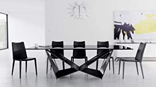 Zuri Furniture Modern Serra 94 Inch Dining Table - Smoked Glass with Matte Black Steel Base