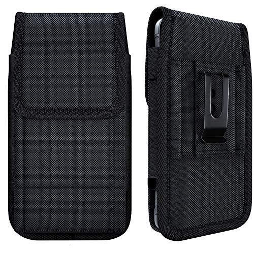 NUVAVO Nylon iPhone SE (2020) iPhone 8 7 6s Holster Belt Case with Belt Clip Cell Phone Belt Holder Carrying Pouch Cover (Fits iPhone 8/7/ 6s with Otterbox/Battery Case on) Black