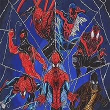 Amacigana Super Hero - Sábana bajera para adultos con certificado Öko-Tex Standard (Spiderman, 200 x 200 cm), 100% microfibra